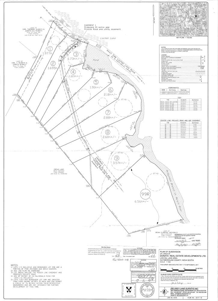 DeLorey Land Surveys - Donata Lochiel Lake Approved Plan